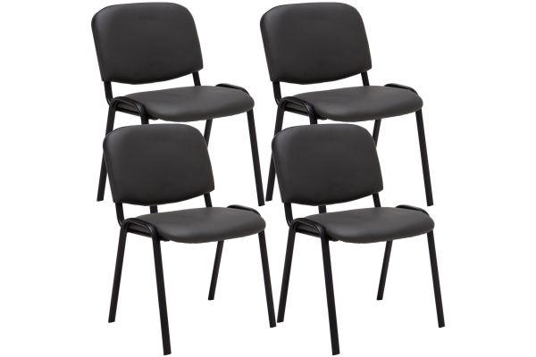 4-delige set bezoekersstoel Ken Kunstleer