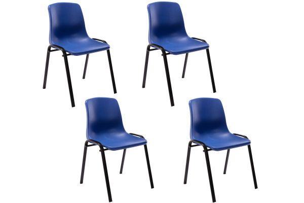 4er Set Stapelstuhl Nowra Kunststoff blau