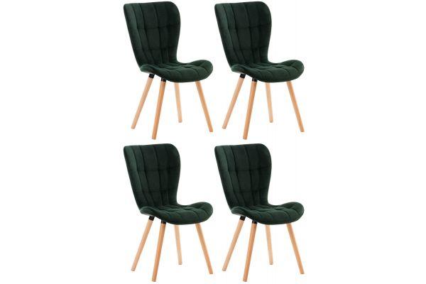 4er Set Stuhl Elda Samt grün